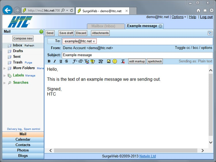 Entering Email Message Information