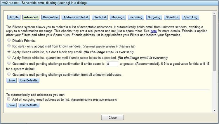 Advanced Spam Settings
